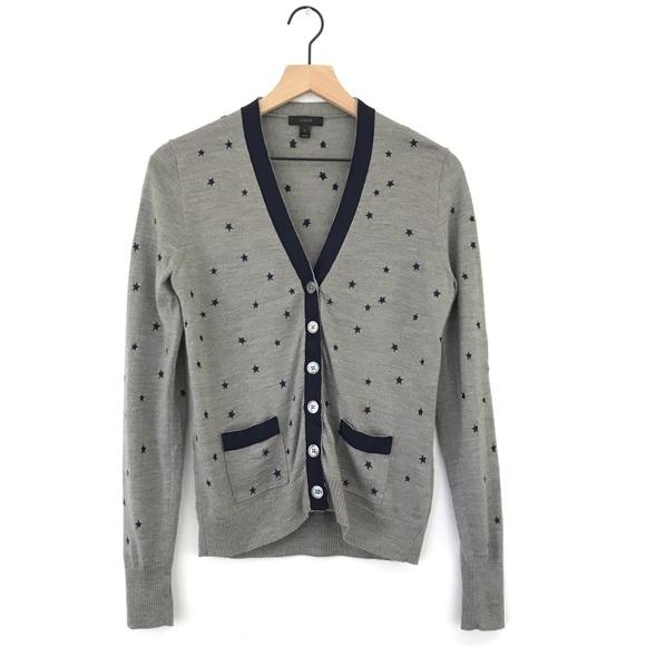 4a2f24c1bfb4 J. Crew Sweaters   Jcrew Harlow Star Print Button Cardigan Sweater ...